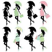 Pregnant ladies silhouettes — Stock Vector
