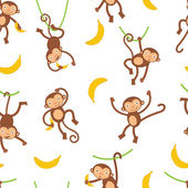 Cute monkeys pattern — Stock Vector