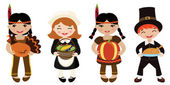 Four kids Piligrims and Indians sharing food for Thanksgiving — Stock Vector