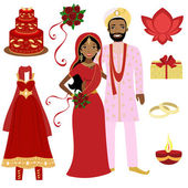Indian wedding collection — Stock Vector