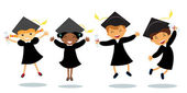 Cute happy little graduates jumping — Stock Vector