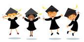 Cute happy little graduates jumping — Stock Vector