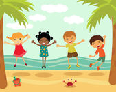 Happy kids jumping at the beach — Stock Vector
