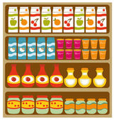 Grocery shelves — Stock Vector