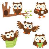 Cute little owls set — Stock Vector