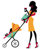 Chick fashion mom shopping with her baby in a stroller — Stock Vector