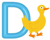 D is for duck — Stock Vector