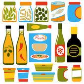 Composición de los alimentos coloridos — Vector de stock