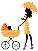 Mom with umbrella walking her baby in a stroller — Stock Vector