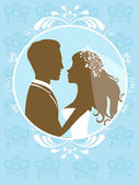 Bride and groom in a frame — Stock Vector