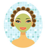 A beautiful woman with hair curlers — Stock Vector
