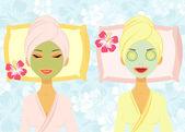 Two women enjoying beauty treatment — Stock Vector