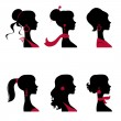 Beautiful women silhouettes set — Stock Vector #19461753