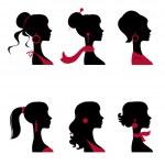Beautiful women silhouettes set — Stock Vector #19461753
