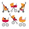 Baby strollers set — Stock Vector
