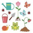 Cute gardening icons — Stock Vector