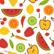 Colorful fruit and vegetables pattern — Stock Vector