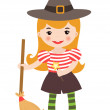 A vector illustration of a cute little witch - Stock Vector