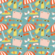 Seamless beach pattern — Stock Vector