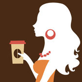 A vector illustration of a beautiful woman holding a take away coffee — Stock Vector