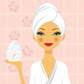 A vector illustration of a beautiful woman holding a moisturizing cream — Stock Vector