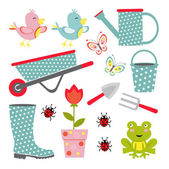 A cute colorful gardening icons collection — Stock Vector