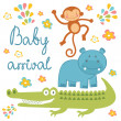 Baby arrival announcement card with african animals — Stock Vector