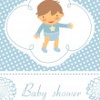 Baby shower card with cute baby boy — Stock Vector