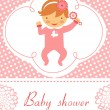 Baby shower card with baby girl  holding rattle - Stock Vector
