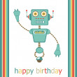 Birthday card with  cute robot — Stock Vector