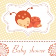Baby shower card with baby-ladybug girl sleeping - Stok Vektör