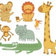 Stock Vector: Cute exotic animals collection