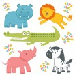 Cute jungle animals collection — Stock Vector
