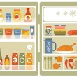 Refrigerator with food and drinks — Stock Vector