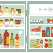 Open refrigerator full of food and drinks - Stock Vector