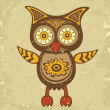 Decorative retro style owl - Stock Vector