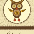 Baby shower card with cute owl - Stock Vector