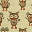 Cute decorative owls pattern - Stock Vector