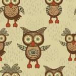 Cute decorative owls pattern — Stock Vector