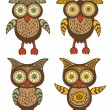 Cute owls collection - Stock Vector