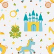 Princess frog seamless pattern — Stock Vector
