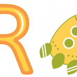 R is for rocket - Stock Vector
