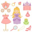 Beautiful princess collection — Stock Vector