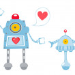 Cute illustration of robots in love — Stock Vector