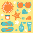 Colorful collection of summer icons — Stock Vector