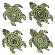 Collection of decorative turtles - Stock Vector