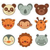 Animal head icons collection — Stock Vector
