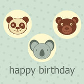 Animal faces happy birthday card — Stock Vector
