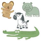 Exotic animals set — Stock Vector