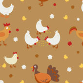 Farm birds seamless background — Vector de stock